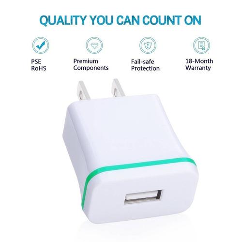 cargador de pared, ououdee 3-pack usb 1amp un + envio gratis