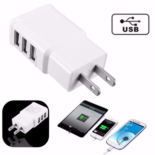 cargador de pared triple 3 puerto usb samsung ipad iphone 4g