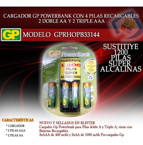 cargador de pilas baterias gp recargables aa 2 und aaa 2 und