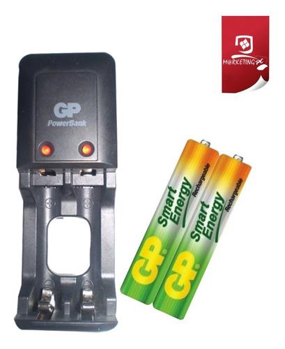 cargador de pilas baterias gp recargables aa aaa + 2 bat aaa