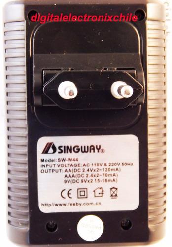 cargador de pilas doble aa, triple aa baterias9volt singway