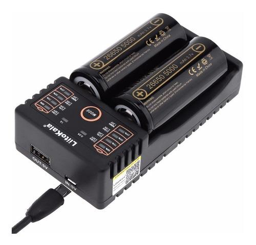 cargador de pilas recargables baterias doble 18650 aa aaa