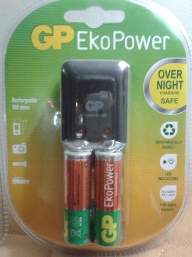 cargador de pilas recargables gp con 2pilas aa de 1300mah
