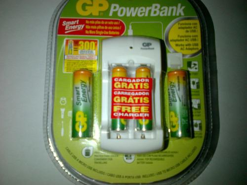 cargador de pilas recargables gp incluidas 2 aaa y 2 aa.