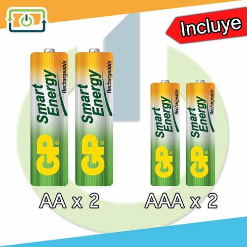 cargador de pilas recargables gp incluidas 2 aaa y 2 aa