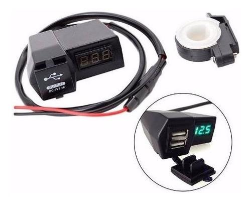 cargador doble 2 puertos usb y voltimetro led para motos