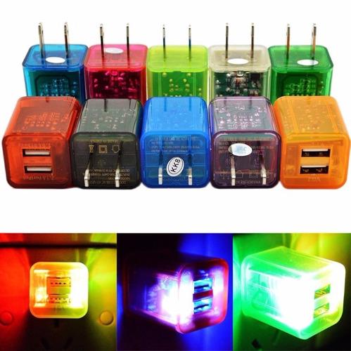 cargador doble para celular y tableta cubo luminoso 2.1