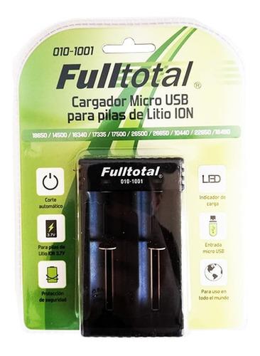 cargador doble para pilas de litio ion micro usb 18650 14500
