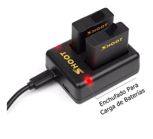 cargador dual + 2 baterías para gopro 5 6 7 black hero 2018