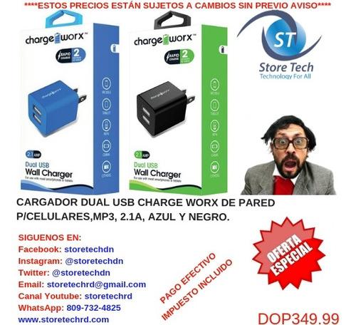 cargador dual usb charge worx de pared p/celulares,mp3, 2.1a