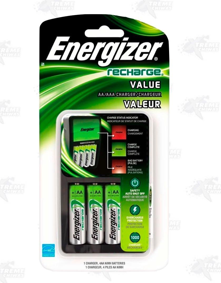 Cargador energizer 4 baterias aa recargables pilas xtreme - Cargador pilas recargables ...