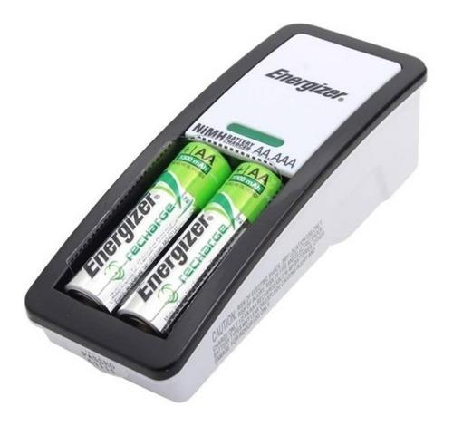 cargador energizer mini p/ aa / aaa + 2 pilas recargables aa