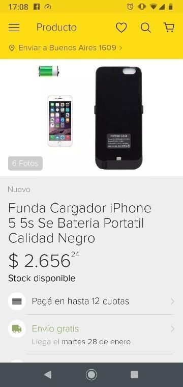 cargador funda iphone 5s
