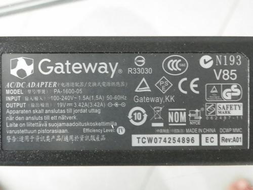cargador gateway 19v 3.42a 65w no pirata 100% original