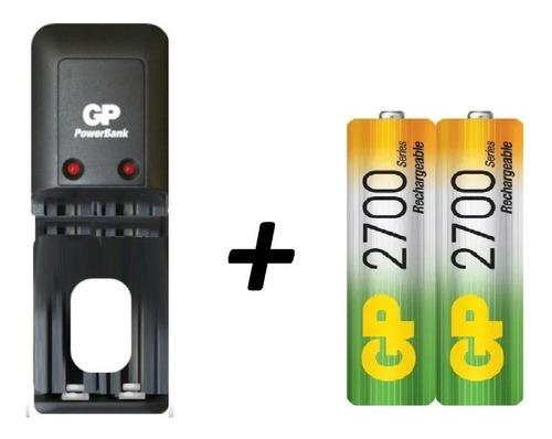 cargador gp + 2 baterías aa  2700 mah recargables  ideal wii