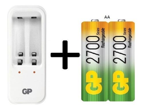 cargador gp + 2baterias aa 2700 mah recargables promo
