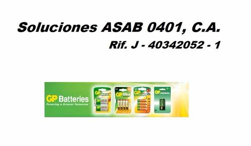 cargador gp + 4 baterias 2 aa y 2 aaa pilas recargables 1051