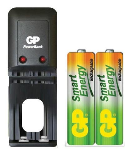 cargador gp + 4 baterías pilas aa 1000 mah recargables promo