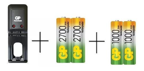 cargador gp + batería pilas  1 par aaa de 1000mah