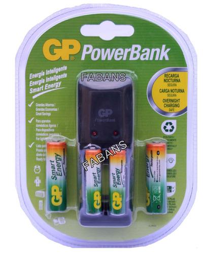 cargador gp con 4 baterias aa y aaa pilas recargables nueva