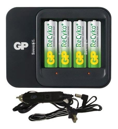 cargador gp con 4 baterias recargables aa recyko 2100 mah