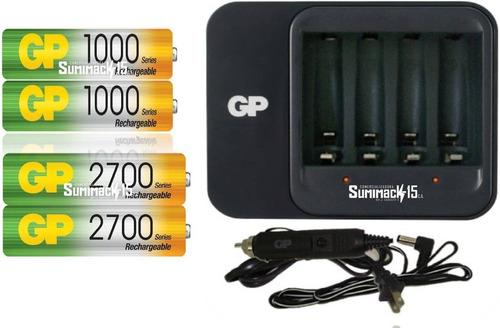 cargador gp con 4 baterias recargables aa/aaa gp 2700/1000