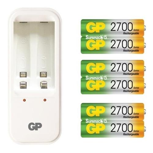 cargador gp con 6 baterias recargables aa 2700 mah