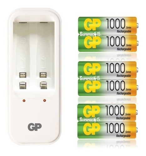 cargador gp con 6 baterias recargables aaa 1000mah