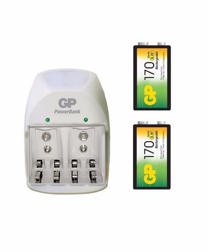 cargador gp pilas 9v + 2 pilas 9v 170 mah 0194