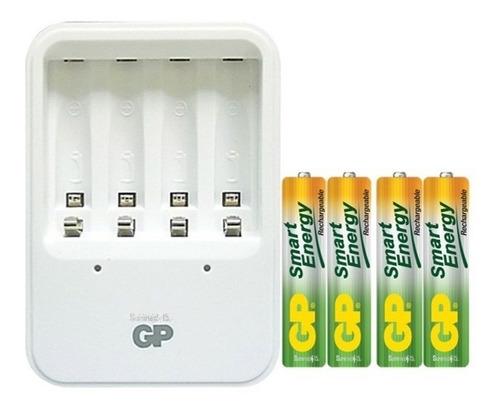 cargador gp recyko con 4 aaa 400mah recargables smart energy
