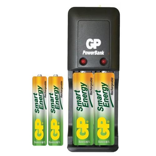 cargador gp smart con 2aa y 2aaa 1000/400mah recargables