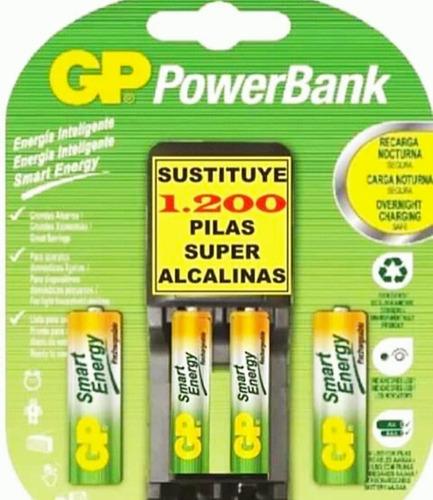 cargador gp smart energy aa y aaa con 4 baterías recargables