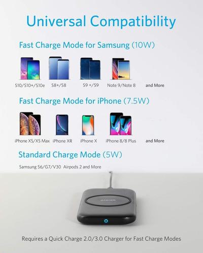 cargador inalambrico - anker powerwave base pad + fuente qc