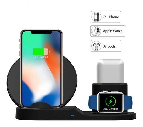 cargador inalambrico iphone apple watch airpods 3 en 1