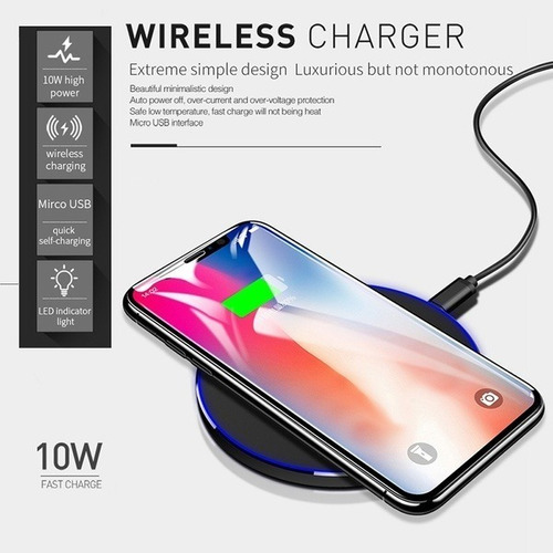 cargador inalambrico iphone x 8 note 8 s8 s9 s10 plus rapido
