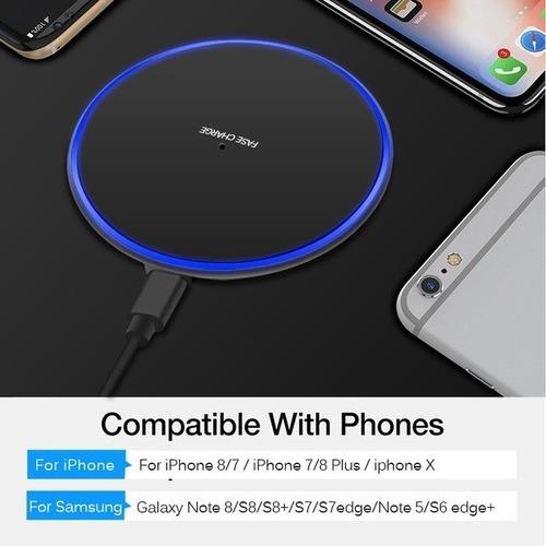 cargador inalambrico iphone x 8 note 8 s8 s9 s10 plus rapido
