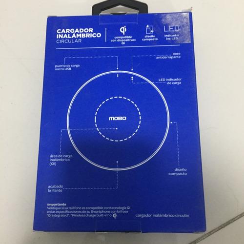 cargador inalambrico mobo circular negro 1a/5w tecnología qi
