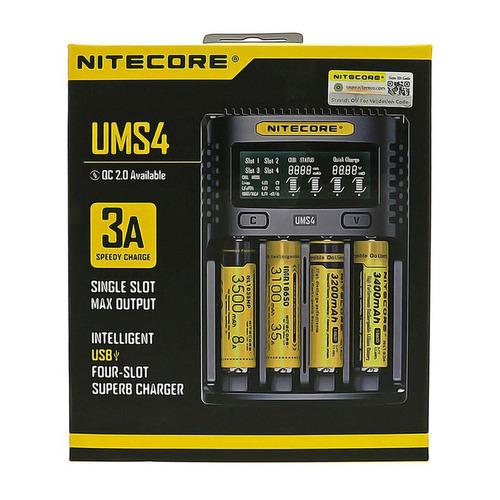 cargador inteligente ums4 nitecore 4 slot de carga y display