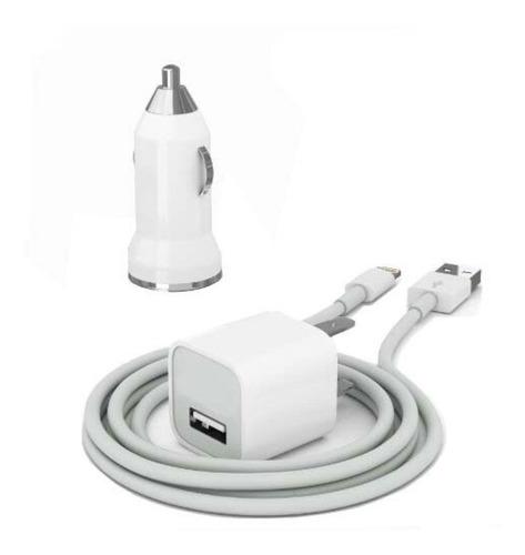 cargador iphone 5 5s 5c ipad ipod 3 en 1 pared y carro apple