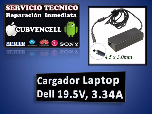 cargador laptop  dell 19.5v, 3.34a
