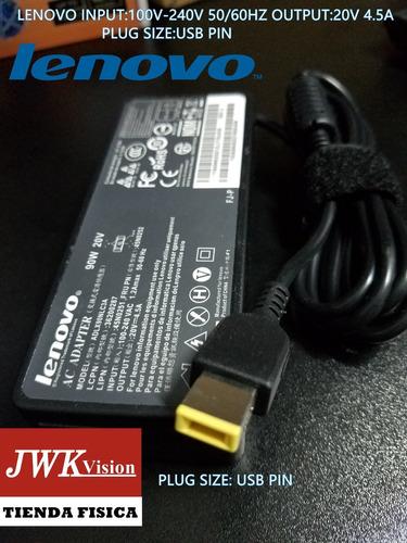 cargador laptop lenovo original 20v 4.5a plug usb pin jwk