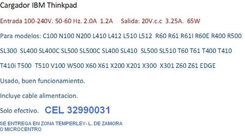 cargador lenovo 20v 3.25 amp. - témperley