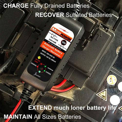 cargador mant. inteligente 0,8amp baterias 12v plantas,motos