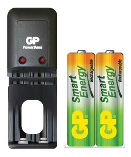 cargador mas  baterías pilas aa  recargables 1000 mah gp