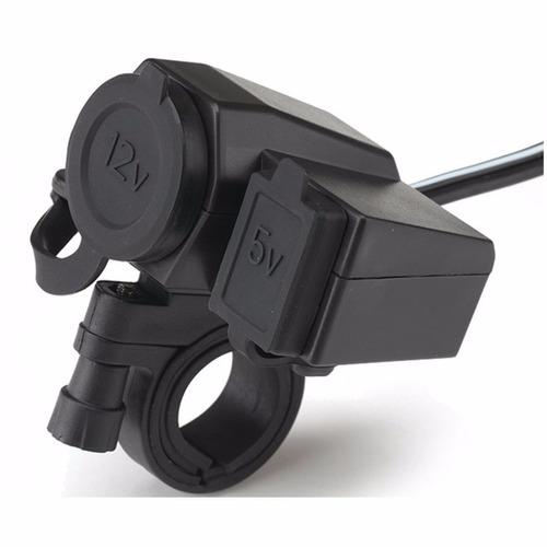 cargador moto celular o gps puerto usb y cigarrera 12v 5v