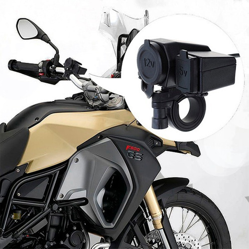 cargador moto para celular o gps puerto usb y cigarrera 12v