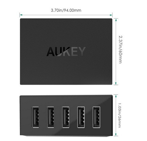 cargador multipuerto aukey para celular tablet 5 puertos usb