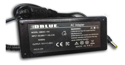 cargador notebook acer aspire 19v 3.42a 5.5mm x 1.7mm