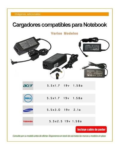 cargador notebook toshiba acer hp dell asus compaq samsung