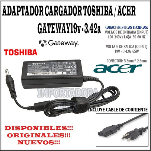 cargador original toshiba satellite l645d-sp400 19v 3.42a